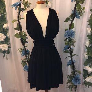 Express Cut Out Low V Cut Black Dress